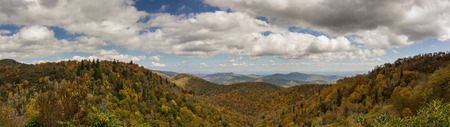 panorama view of the Appalachian mountains under a cloudy sky in autumn