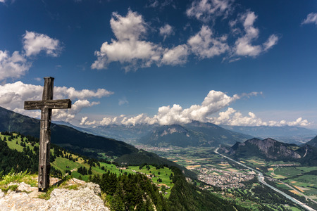 view of the Rhine Valley and Heidiland near Maienfeld in the Swiss Alps on a beautiful summer day