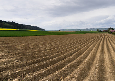 freshly plowed field and acre ready for new crop with green and yellow fields and forest in the background in northern Switzerland Stock Photo