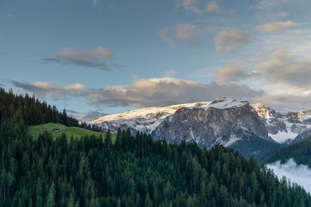 view of the Italian Dolomites near La Valle and Alta Badia