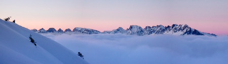 panorama view of winter mountain landscape in the Swiss Alps at sunset with a slope and single tree in the foreground