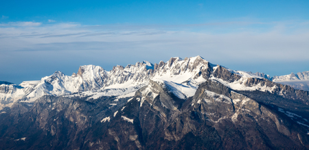 panorama view of the Alvier mountain range in the Swiss Alps Stock Photo
