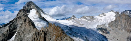 panoramic view of the Bietschhorn as seen form the summit of the Stockhorn