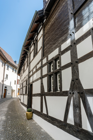 typical truss house architecture from the middle ages in the idyllic Swiss village of Stein Am Rhein