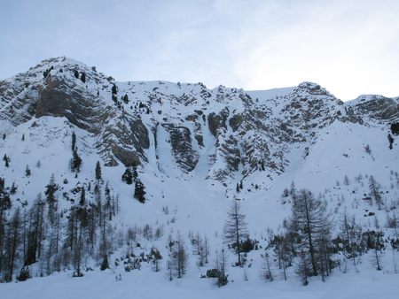 the ice climbing arena in the Sertig Valley near Davos in the Swiss Alps