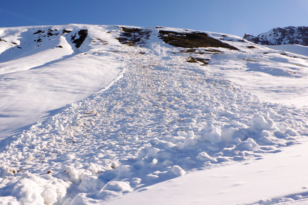 dangerous avalanche covers an access road to a remote alpine village and poses a danger to local residents 版權商用圖片 - 100304647