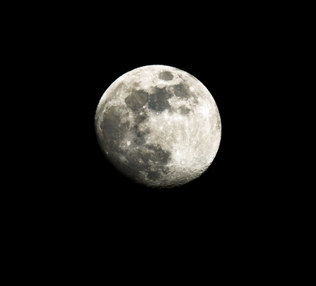 full moon up close in a black night sky Banque d'images
