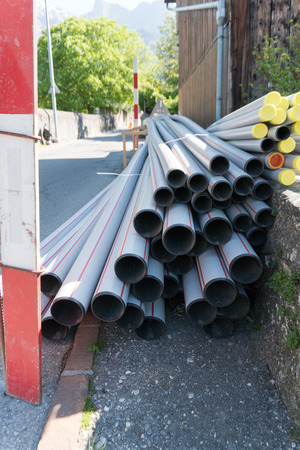 Road work and pipes replacement for sanitary installations Stock Photo