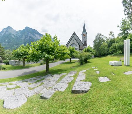 historic church in the village of Balzers in Liechtenstein Stock Photo