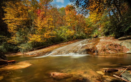 Sliding Rock Falls in the Appalachians of North Carolina in late autumn with fall color foliage Stock Photo