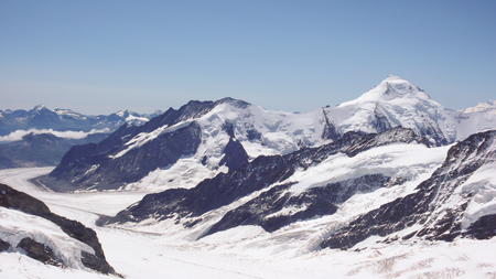 glacier and mountain landscape in Switzerland with the Aletschorn and Aletschgletscher Stock Photo