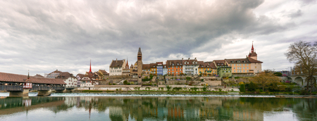 horizontal view of the historic medieval old town of Bremgarten in the Swiss canton of Aargau and the river Reuss