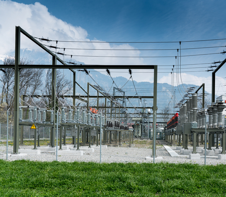 A detail view of transformers and conduits at an electric power station Stock Photo