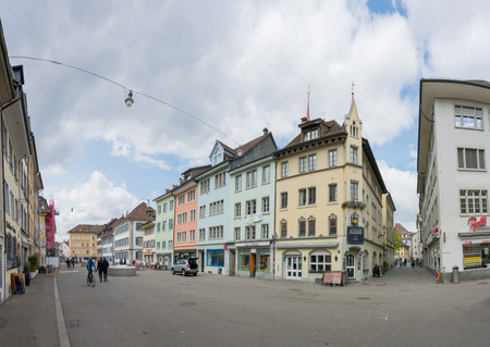 Winterthur, ZH  Switzerland - April 8, 2019: the hustle and bustle in the old town of Winterthur with people running errands and shopping