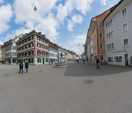 Winterthur, ZH / Switzerland - April 8, 2019: the hustle and bustle in the old town of Winterthur with people running errands and shopping Editöryel