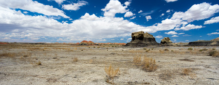 panorama rock desert landscape in northern New Mexico in the Bisti/De-Na-Zin Wilderness Area with washed out hoodoo rock formations under a blue sky