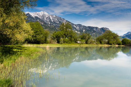 springtime landscape with snowcapped mountains and pond in green forest in the Swiss Alps near Maienfeld