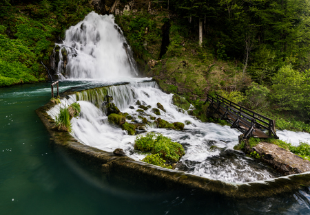 idyllic waterfall surrounded by green forest landscape Banque d'images