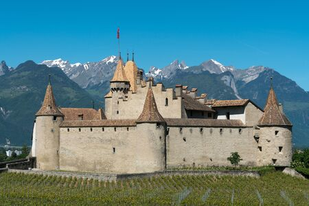 Aigle, VD / Switzerland - 31 May 2019: the historic castle at Aigle in the Swiss canton of Vaud with summer vineyards