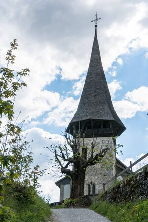 detailed view of the historic old chapel in Jaunpass village in the Swiss Alps