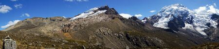wide panorama mountain landscape in the central Cordillera Blanca in the Andes of Peru 写真素材