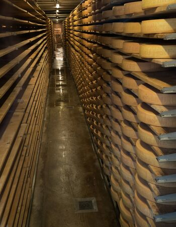 Greyerz, VD / Switzerland - 31 May 2019: the cellar in the Gruyeres cheese museum and factory used for storing slabs of cheese until it matures