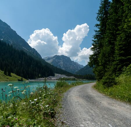 summer mountain landscape with turquoise lake and gravel road bordered by wildflowers in the Swiss Alps near Arosa Stockfoto