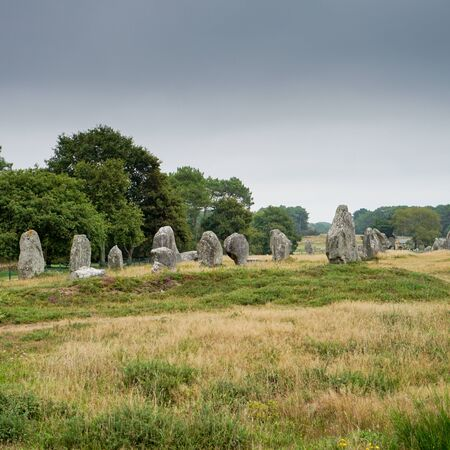 square format viewview of prehistoric monolith stone alignments in Brittany at Carnac 写真素材