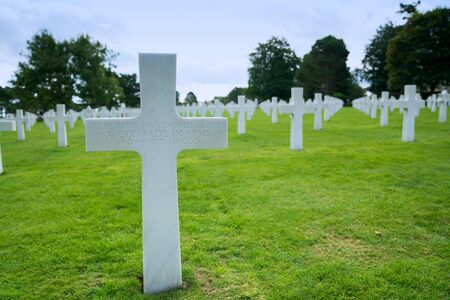Omaha Beach, Normandy  France - 16 August 2019:  headstone of an unmarked grave and unknown soldier at the American Cemetery at Omaha Beach