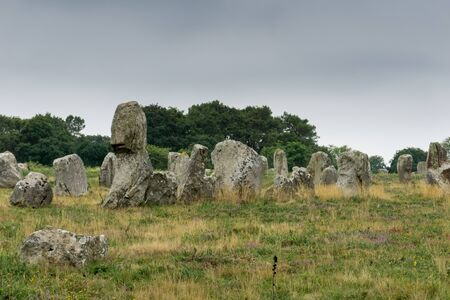 view of prehistoric monolith stone alignments in Brittany at Carnac 写真素材