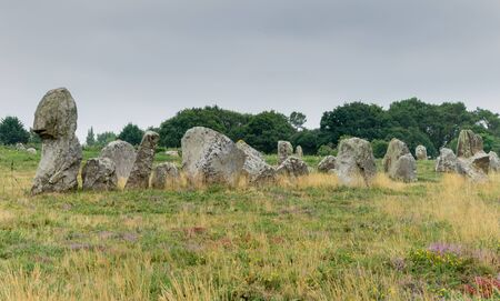view of prehistoric monolith stone alignments in Brittany at Carnac Stock Photo