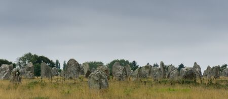 panorama view view of prehistoric monolith stone alignments in Brittany at Carnac