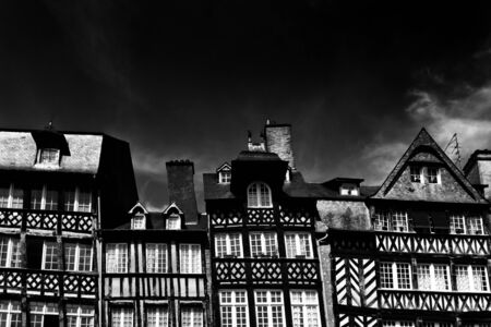Horizontal view of half-timbered houses in the historic old town of Dijon in Burgundy in eastern France