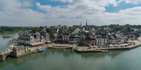 Auray, Morbihan  France - 25 August 2019: panorama cityscape view of the old town of Auray in Brittany in western France