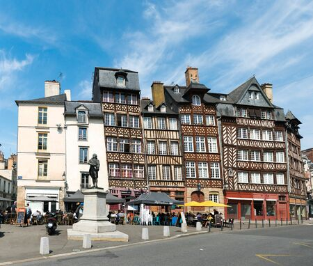 Rennes, Ille-et-Vilaine  France - 26 August 2019: half-timbered houses at the Place des Lices Square in the historic old town of Rennes in Brittany