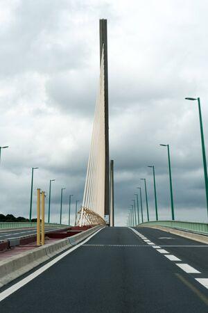 Caudebec-en-Caux, Seine-Maritime / France - 13 August 2019: modern suspension cable-stayed bridge