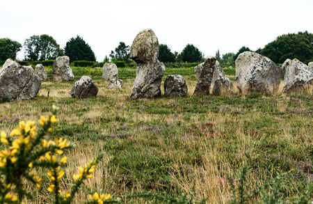 A view of prehistoric monolith stone alignments in Brittany at Carnac 写真素材