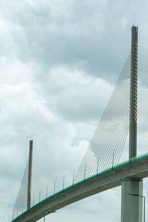 Caudebec-en-Caux, Seine-Maritime  France - 13 August 2019: modern suspension cable-stayed bridge Redakční