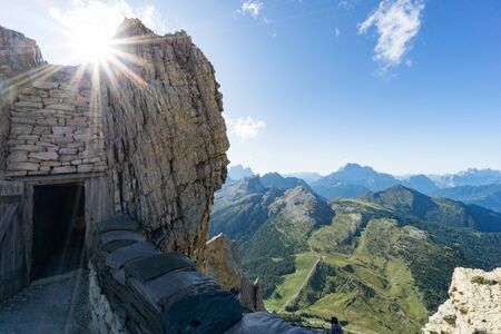 historic battlements and tunnels from World War I in the Italian Dolomites