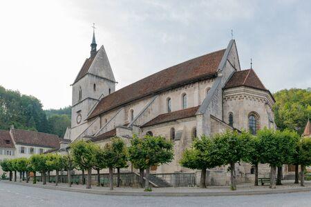 Saint-Ursanne, Jura  Switzerland - 27 August 2019: view of the 12th century church of