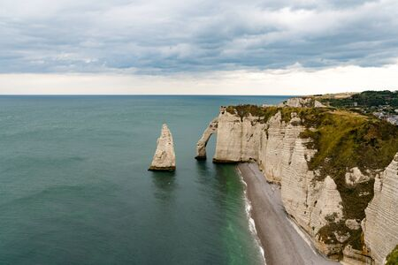 view of the Aiguille du Etretat rock pinnacle on the Normandy coast