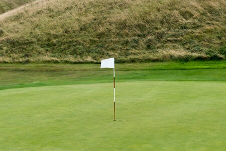 white flag and pole in the hole of a green on a golf course with heath meadow behind
