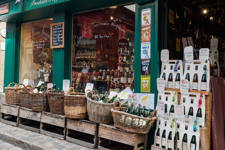 Honfleur, Calvados  France - 15 August 2019: house front of a typical shop with regional specialities and apple cidre and liquors in Honfleur Editöryel