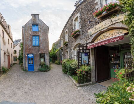 Rochefort-en-Terre, Morbihan  France - 24 August, 2019: detail view of historic architecture and buildings in the picturesque French village of Rochefort-en-Terre in Brittany