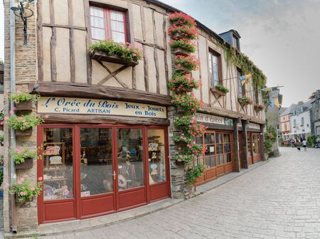 Rochefort-en-Terre, Morbihan / France - 24 August, 2019: detail view of historic architecture and buildings in the picturesque French village of Rochefort-en-Terre in Brittany