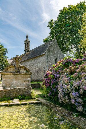 Locronan, Finistere / France - 23 August, 2019: the Chapel Notre-Dame-de-Bonne-Nouvelle in Locronan village in Brittany
