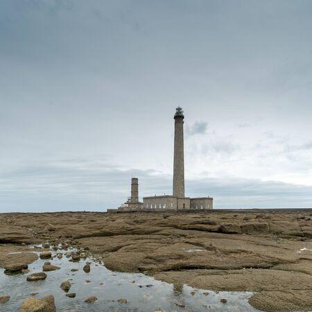 the Gatteville lighthouse on the Normandy coast in France Stok Fotoğraf