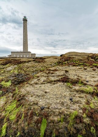 the Gatteville lighthouse with rocks and algae in the foreground