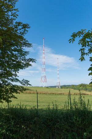 view of the radio and tv aerials at the CLT Emissions Center in Junglinster