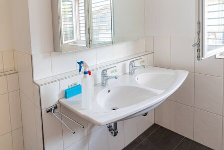 Interior view of a very clean and modern bathroom in a residence with cleaning equipment on the bathroom sink